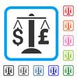 dollar pound balance framed icon vector image vector image