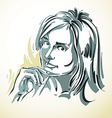 drawing of beautiful tender woman portrait in vector image vector image