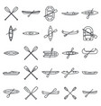 extreme canoeing icons set outline style vector image