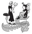fairies reading written vintage engraving vector image vector image