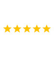 five stars customer product rating review icon vector image vector image
