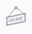 For rent icon Advertising banner tag sign vector image vector image