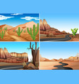 four desert scenes with empty roads vector image vector image