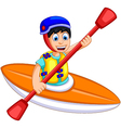 funny boy cartoon play rafting vector image vector image