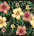golden burgundy hibiscus plumeria leaves seamless vector image vector image
