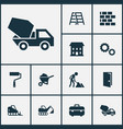 industry icons set collection of carry cart wall vector image vector image