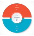 infographic circle chart with 2 options vector image vector image
