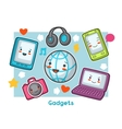 Kawaii gadgets funny card Doodles with pretty vector image