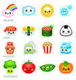 Kawaii stickers - set II vector image vector image