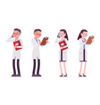 male and female scientist standing with paper and vector image vector image
