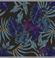 night tropical leaves pattern with eyes in the vector image vector image