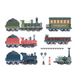 old steam locomotives set comfortable green cars vector image vector image