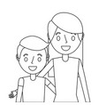 portrait mom embracing her son vector image vector image