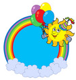 rainbow circle with party sun vector image vector image