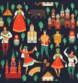 russian sights and folk art flat design vector image vector image