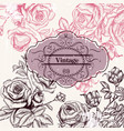 save date or invitation with hand drawn roses vector image vector image