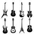 Set of black guitars icons vector image vector image