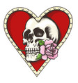 skull with rose in a heart shaped hole vector image