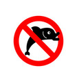 stop fish it is forbidden to fish red vector image vector image