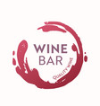 wine bar icon or label with red spot circle of vector image