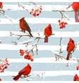 Winter Birds with Rowan Berries Retro Background vector image vector image