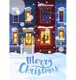 Winter street with Christmas decorated homes and vector image