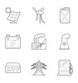 energy industry icons set outline style vector image