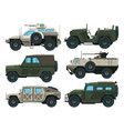 army vehicles set colored vector image vector image