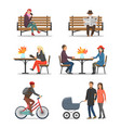 autumn activities fall and people outdoor vector image vector image