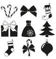black white 9 christmas elements silhouette set vector image vector image