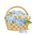 bouquet roses and phlox in a basket vector image vector image