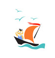 boy on a sailing boat in search an unknown land vector image vector image