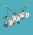 brand building construction 3d isometric vector image vector image
