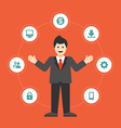 Business man concept and flat icons set money vector image vector image