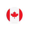 canadian flag in a circle on white background vector image vector image