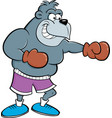 cartoon gorilla wearing boxing gloves vector image vector image