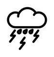 cloud with rain and lightning line icon vector image