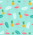 colorful pink flamingo seamless pattern background vector image vector image