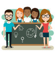 couple teachers with students in the classroom vector image vector image