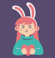 Cute Bunny Girl Holding a Heart vector image vector image