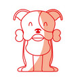 cute dog mascot with bone vector image vector image