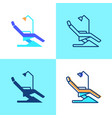 dentist chair icon set in flat and line style vector image
