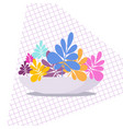 exotic tropical indoor plant in a flowerpot on a vector image
