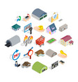 fleapit icons set isometric style vector image vector image