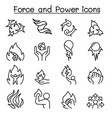 force and power icon set in thin line style vector image