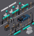 funeral services isometric composition vector image