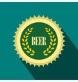 Green beer bottle cap icon flat style