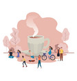 group people cup coffee avatar character