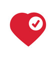heart sign web icon with check mark glyph vector image vector image