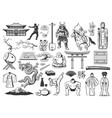 japan icons with asian food religion and culture vector image vector image